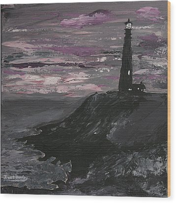 Pigeon Lighthouse Impasto Sunset Monochromatic Wood Print by Ian Donley