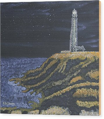 Pigeon Lighthouse Night Scumbling Complementary Colors Wood Print by Ian Donley