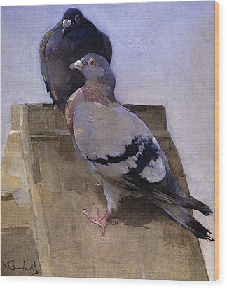Pigeons On The Roof Wood Print by Joseph Crawhall