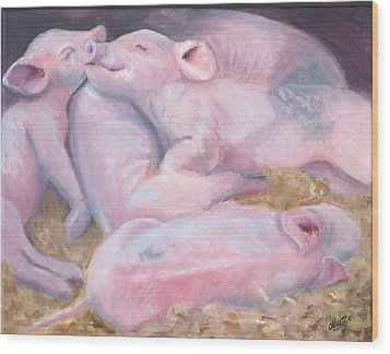 Piglets At Peace Wood Print by Deborah Butts
