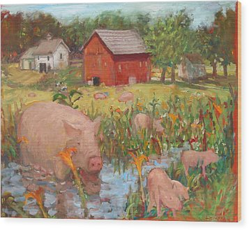 Pigs And Lilies Wood Print