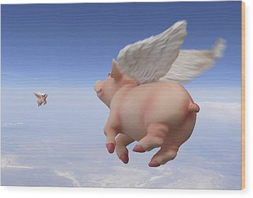 Pigs Fly 2 Wood Print by Mike McGlothlen