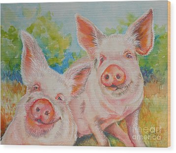 Pigs Pink And Happy Wood Print by Summer Celeste