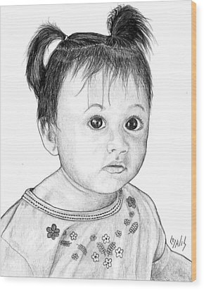 Wood Print featuring the drawing Pigtails 2 by Lew Davis