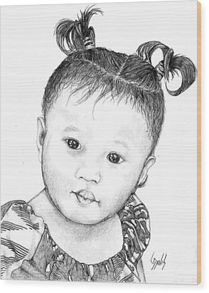 Wood Print featuring the drawing Pigtails by Lew Davis
