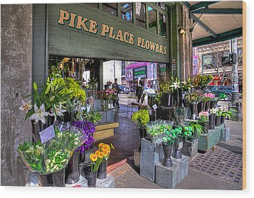 Pike Place Flowers Wood Print