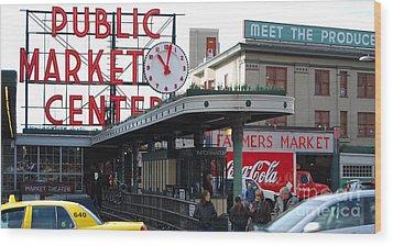 Pike Place Market Center Wood Print
