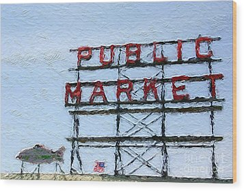Pike Place Market Wood Print by Linda Woods