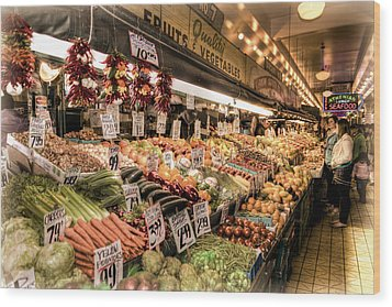 Pike Place Veggies Wood Print by Spencer McDonald