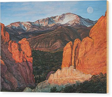 Wood Print featuring the painting Pikes Peak by Aaron Spong