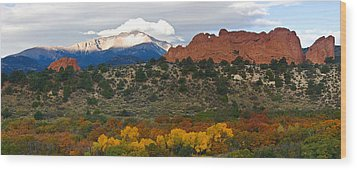 Wood Print featuring the photograph Pikes Peak Fall Pano by Ronda Kimbrow