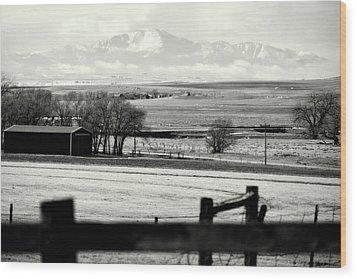 Pikes Peak From Ramah Wood Print by Clarice  Lakota