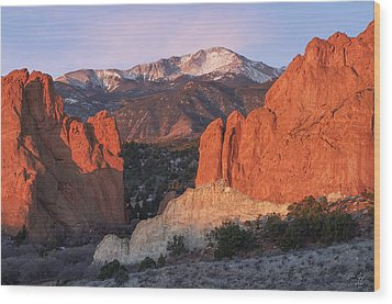 Pikes Peak Sunrise Wood Print