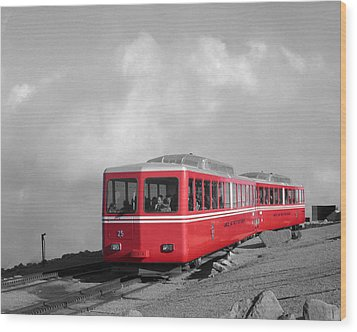 Pikes Peak Train Wood Print