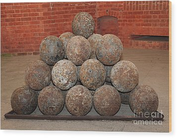 Pile Of Cannon At San Francisco Fort Point 5d21493 Wood Print by Wingsdomain Art and Photography