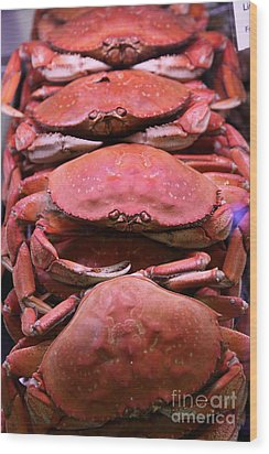 Pile Of Fresh San Francisco Dungeness Crabs - 5d20693 Wood Print by Wingsdomain Art and Photography