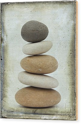 Pile Of Pebbles Wood Print by Bernard Jaubert