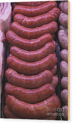 Pile Of Sausages - 5d20694 Wood Print by Wingsdomain Art and Photography