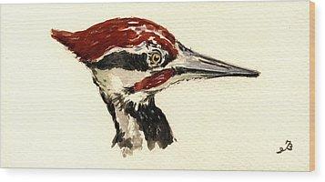 Pileated Woodpecker Head Study Wood Print by Juan  Bosco