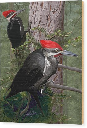 Pileated Woodpeckers Wood Print