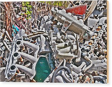 Piles Of Engines - Automotive Recycling Wood Print by Crystal Harman
