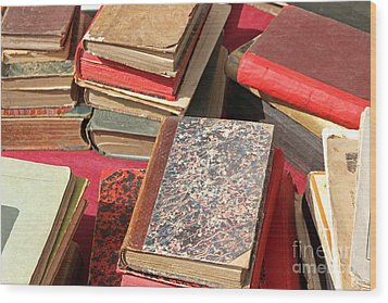 Piles Of Old Books Wood Print by Kiril Stanchev