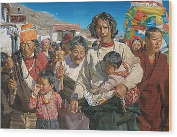 Pilgrims Wood Print by Victoria Kharchenko