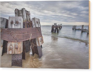 Pilings Wood Print by Eric Gendron