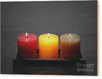 Pillar Candles Wood Print by Olivier Le Queinec