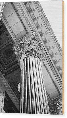 Pillar Of Finance  Wood Print by Cathie Tyler