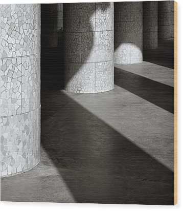 Pillars And Shadow Wood Print by Dave Bowman