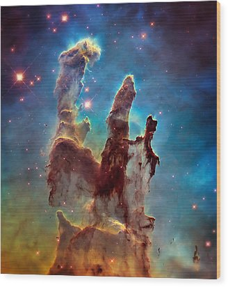 Pillars Of Creation In High Definition - Eagle Nebula Wood Print