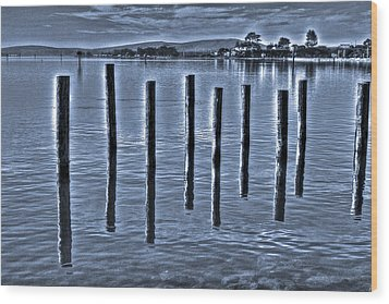 pillars on the Bay Wood Print