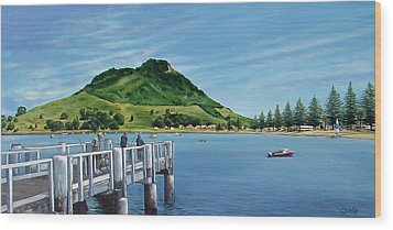 Wood Print featuring the painting Pilot Bay 280307 by Sylvia Kula