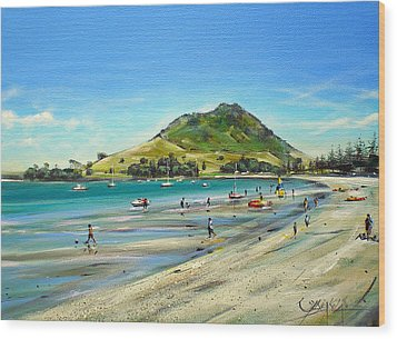 Wood Print featuring the painting Pilot Bay Mt M 050110 by Sylvia Kula