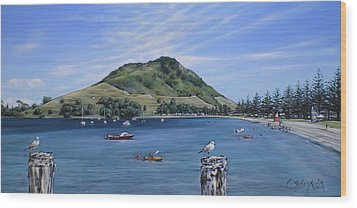 Wood Print featuring the painting Pilot Bay Mt M 291209 by Sylvia Kula