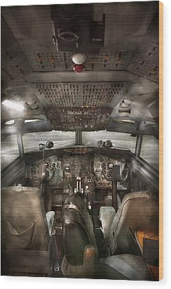 Pilot - Boeing 707  - Cockpit - We Need A Pilot Or Two Wood Print by Mike Savad