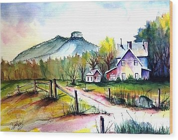 Wood Print featuring the painting Pilot Mountain Nc Farm Road Sold by Richard Benson