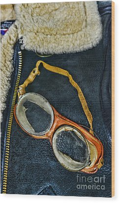 Pilot - Vintage Aviation Goggles Wood Print by Paul Ward