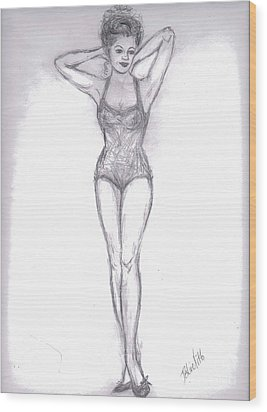 Wood Print featuring the drawing Pin Up Girl by Desline Vitto