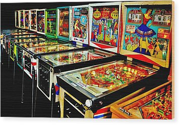 Pinball Alley Wood Print by Benjamin Yeager