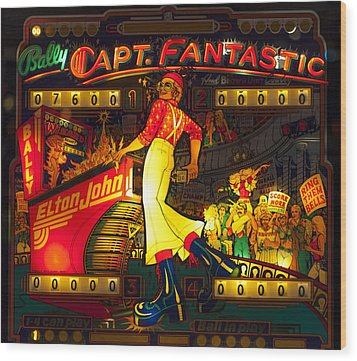 Pinball Machine Capt. Fantastic Wood Print by Terry DeLuco