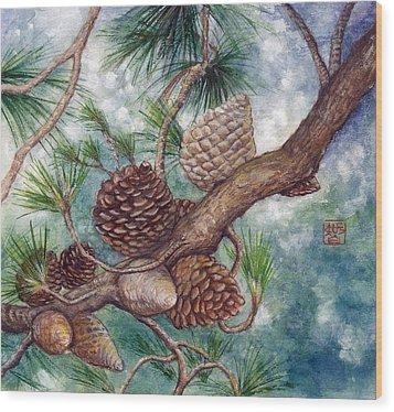 Pine Cone Wood Print by Tomoko Koyama