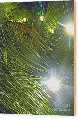 Wood Print featuring the photograph Pine Cone With Lights by Utopia Concepts