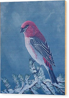Wood Print featuring the painting Pine Grosbeak by Fran Brooks