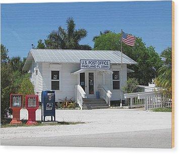 Pine Island Post Office Wood Print by Melinda Saminski