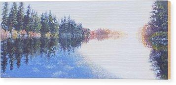 Pine Lake Reflection Wood Print by Charles Smith