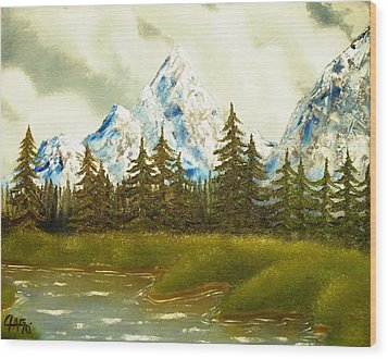Wood Print featuring the painting Pine Mountain River by The GYPSY And DEBBIE