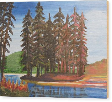 Wood Print featuring the painting Pine Tree Island by Diana Riukas