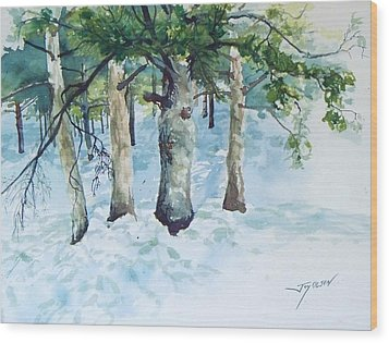 Pine Trees And Snow Wood Print